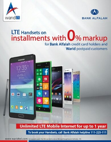 , Warid Brings LTE Handset Offer with Bank Alfalah at 0% Mark-up