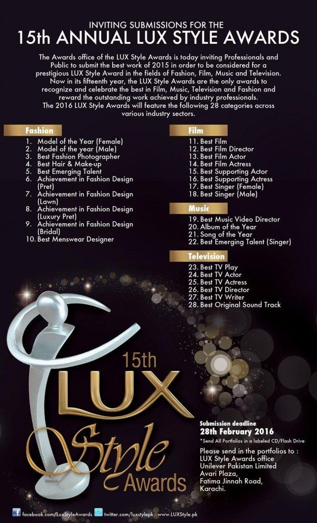 Lux, Unilever, lux awards, style awards, lux style, fashion, music, dance, drama, film, Pakistan awards, fashion awards, film awards, music awards, drama awards, 2016 awards, awards 2016, lux soap, lux 2016,lux 2015, lux awards, tvc, Media awards, 15th Annual LUX Style Awards 2016