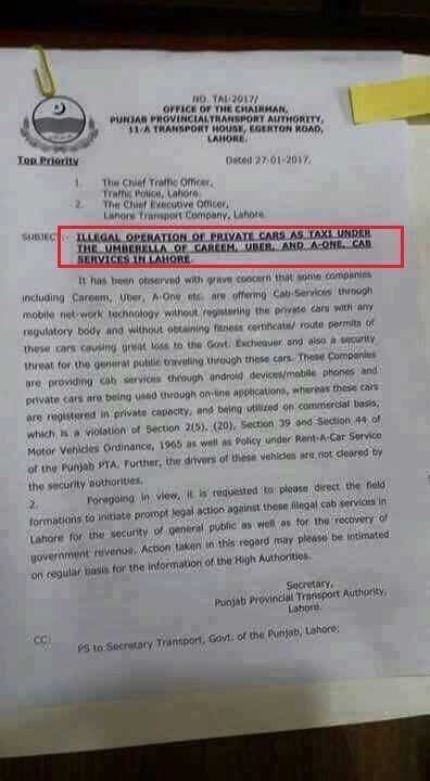 Careem, Careem & Uber operations have been banned in Lahore