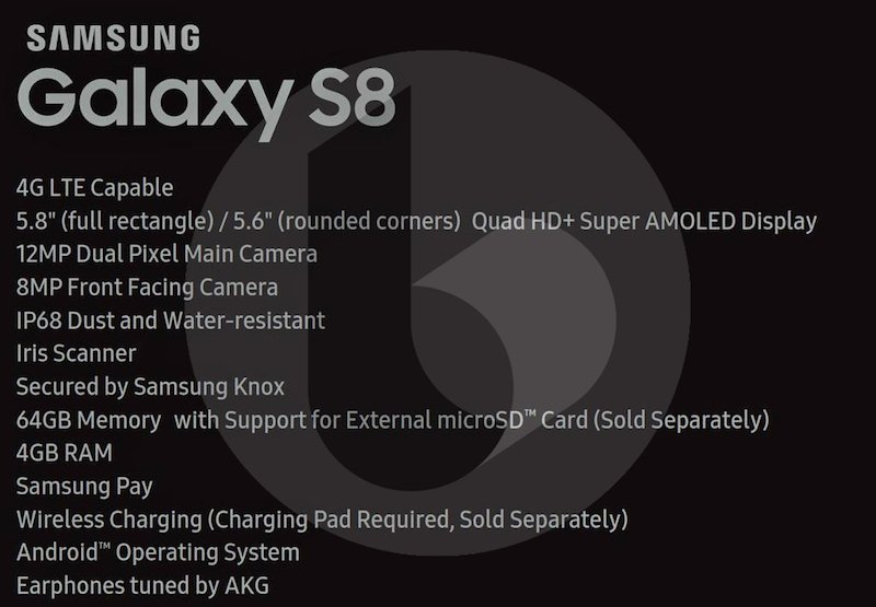 Samsung Galaxy S8, Samsung Galaxy S8 leaked | Specifications and Release Date