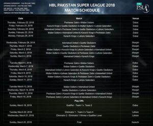 pakistan super league, Pakistan Super League 2018 Match Schedule