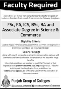 Punjab College Jobs 2018, Punjab College Jobs 2018 for Teaching Faculties all over the Pakistan