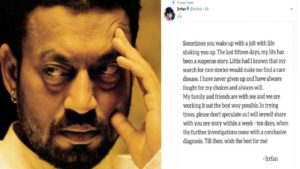 irrfan khan, A Rumor that Irrfan Khan is at the Last Stage of Cancer is False – Spokesperson Confirms