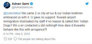 Adnan Sami accused Kuwait, Indian Singer Adnan Sami accused Kuwait of Calling Him Indian Dog