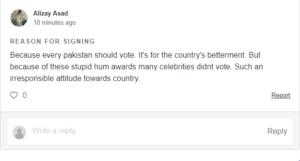 Boycott HUM TV, Boycott HUM TV & Celebrities – Online Petition Started for not Voting in Pakistan