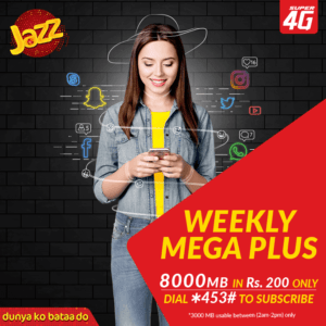 Jazz Weekly Mega Plus Internet Bundle | 8000 MB in just Rs. 200