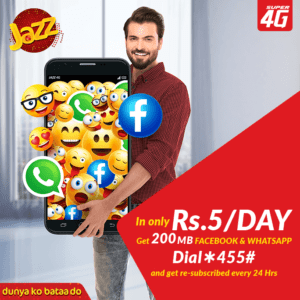 Jazz Daily Social Recursive Internet Bundle | 200 MB in just Rs. 5