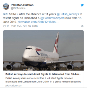 british, British Airways will Restart Flight Operations in Pakistan after Decade