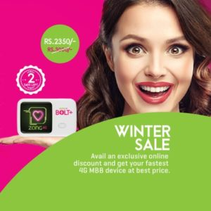Zong 4G Bolt+, Enjoy Discount of Rs.450/- on Zong 4G Bolt+ Device|Zong Winter Sale